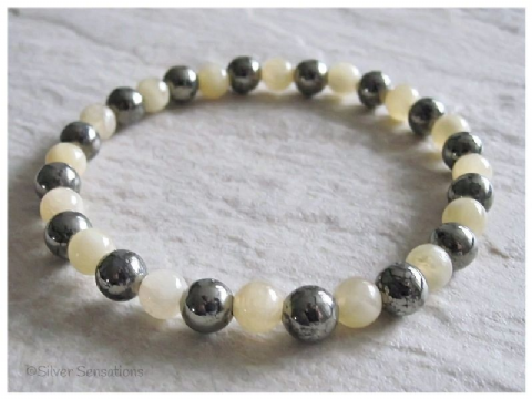 Pastel Honey Yellow Calcite & Khaki Pyrite Bead Bracelet